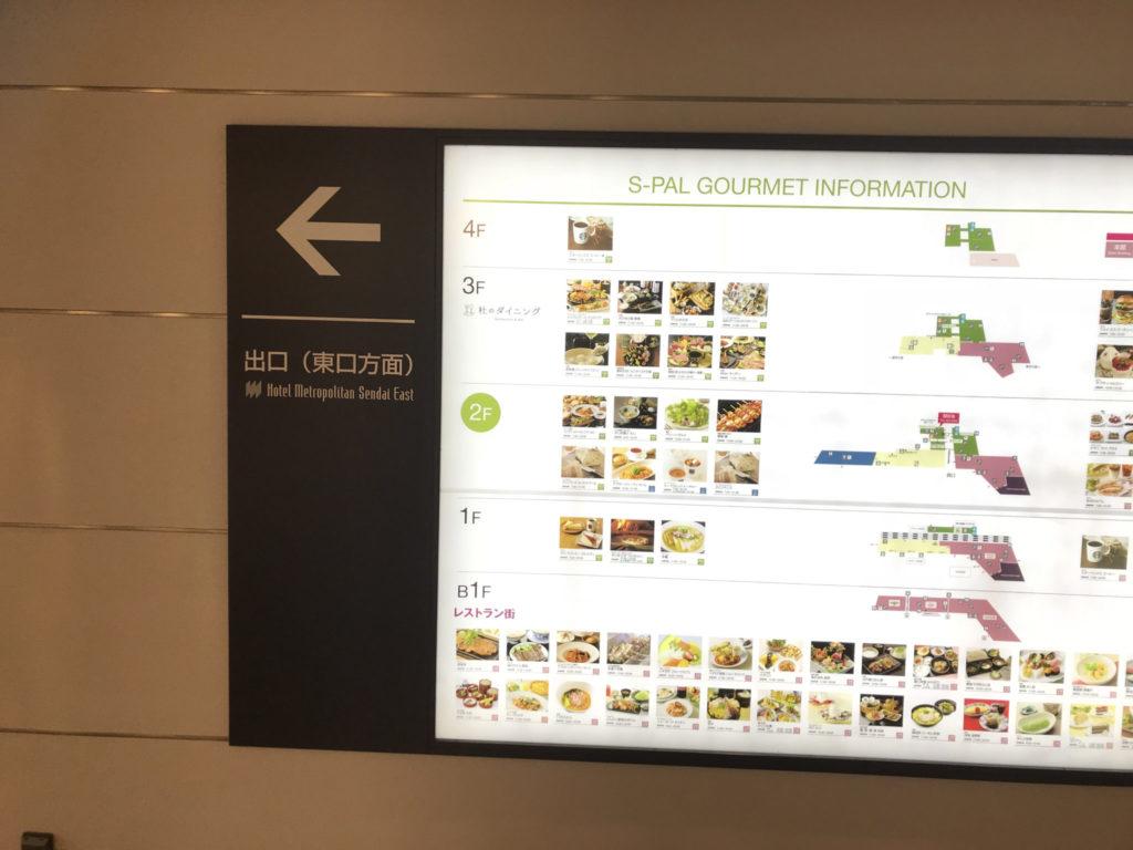 仙台駅東口の看板の矢印