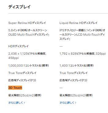 iPhoneXRには3Dtouchが非搭載。