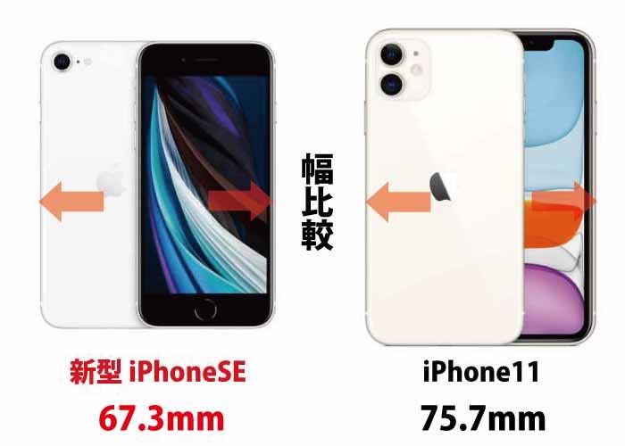 iPhoneSE vsiPhone11 幅を比較