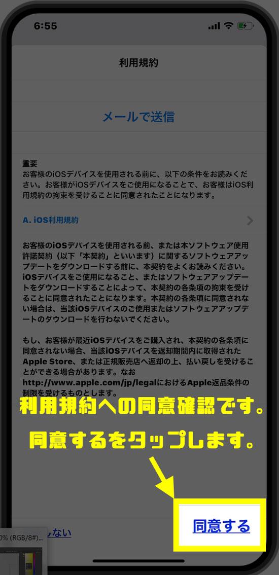 iOS利用規約に同意するをタップします。