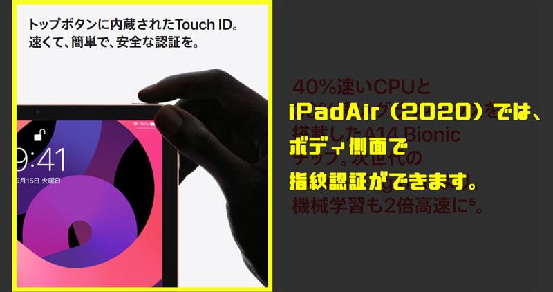 オールスクリーンのiPadには指紋認証は搭載済み。